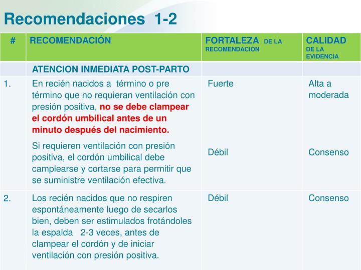 Recomendaciones  1-2