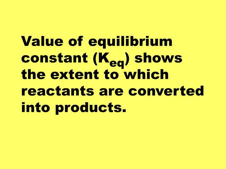 Value of equilibrium constant (K