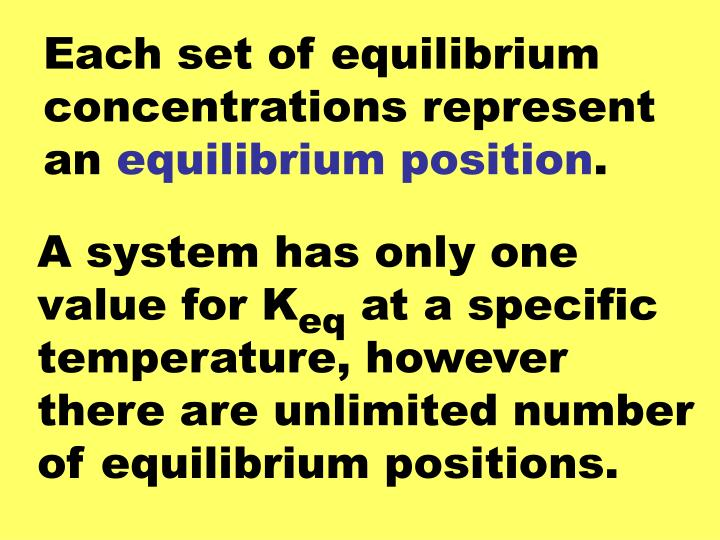 Each set of equilibrium concentrations represent an