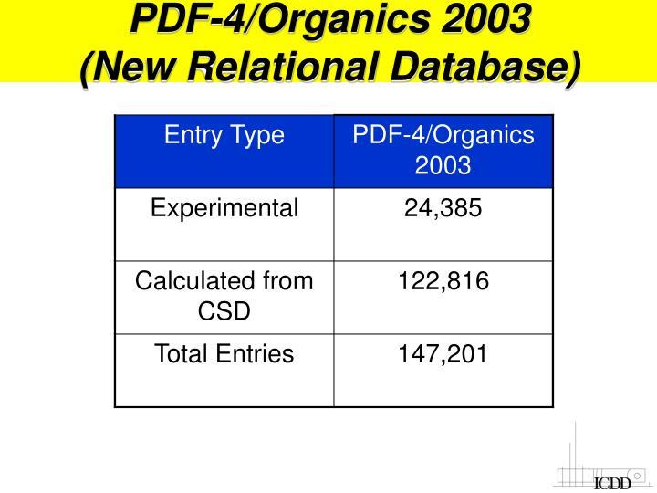 PDF-4/Organics 2003
