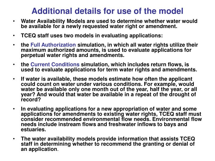 Additional details for use of the model