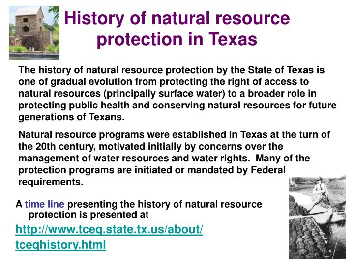 History of natural resource protection in Texas