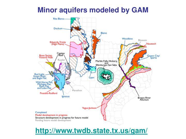 Minor aquifers modeled by GAM