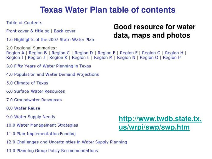 Texas Water Plan table of contents