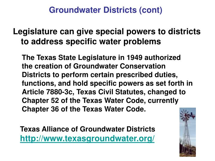 Groundwater Districts (cont)
