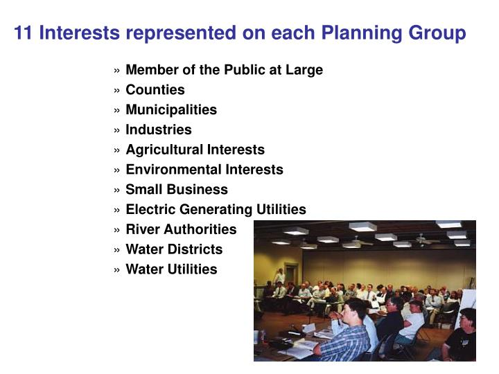 11 Interests represented on each Planning Group