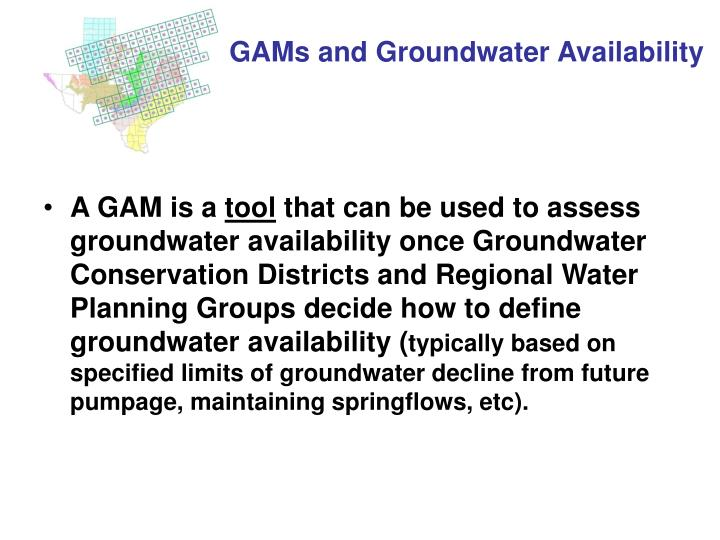 GAMs and Groundwater Availability