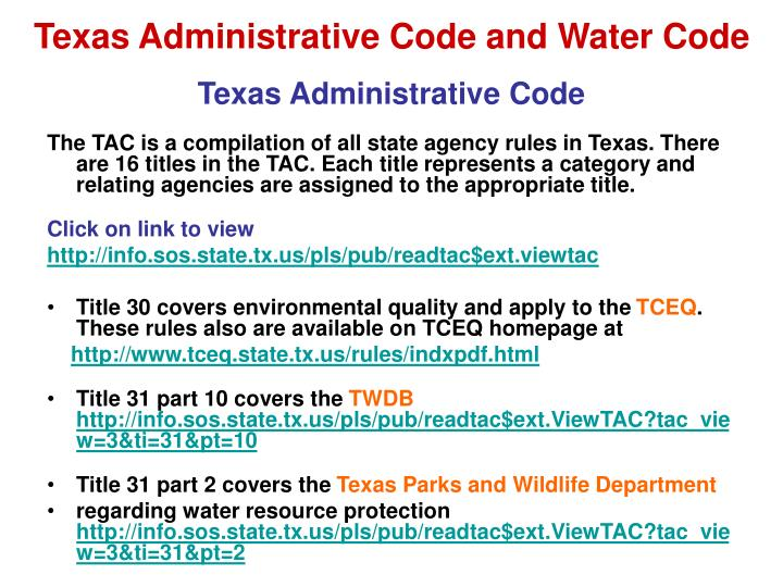 Texas Administrative Code and Water Code