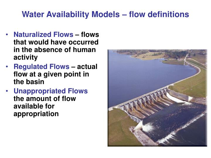 Water Availability Models – flow definitions