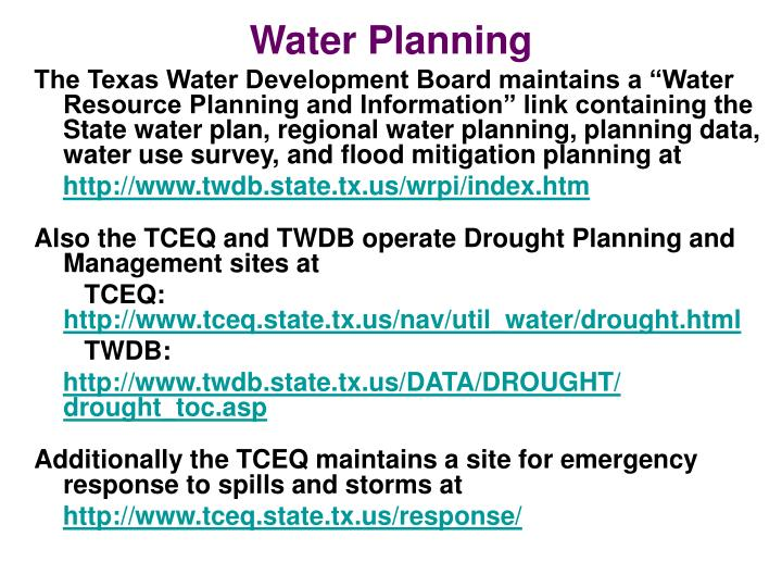 Water Planning