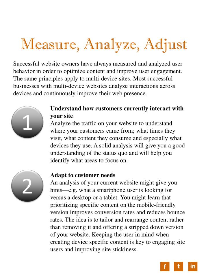 Measure, Analyze, Adjust
