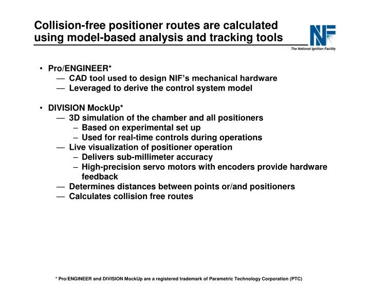 Collision-free positioner routes are calculated using model-based analysis and tracking tools