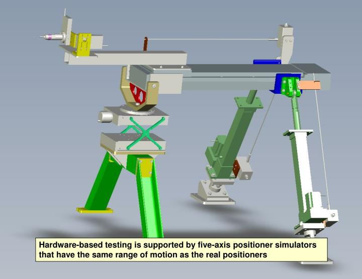 Hardware-based testing is supported by five-axis positioner simulators that have the same range of motion as the real positioners