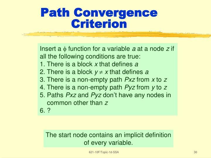 Path Convergence Criterion