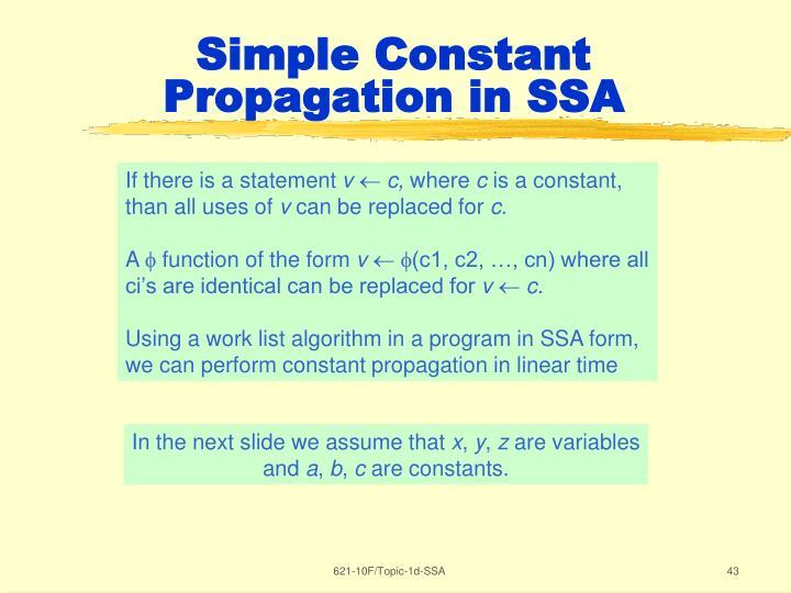Simple Constant Propagation in SSA