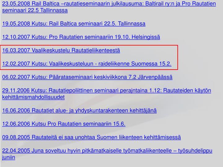 28.02.2011 Kutsu: Liikennepoliittinen keskustelutilaisuus 3.3.2011 Helsingissä