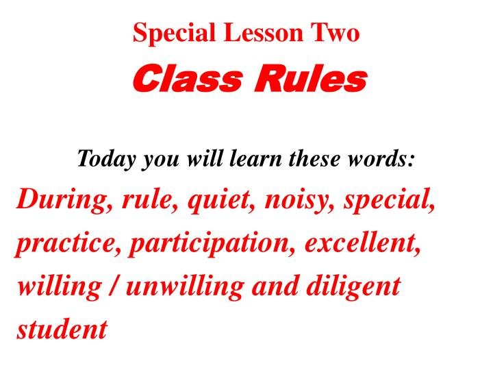 Special Lesson Two