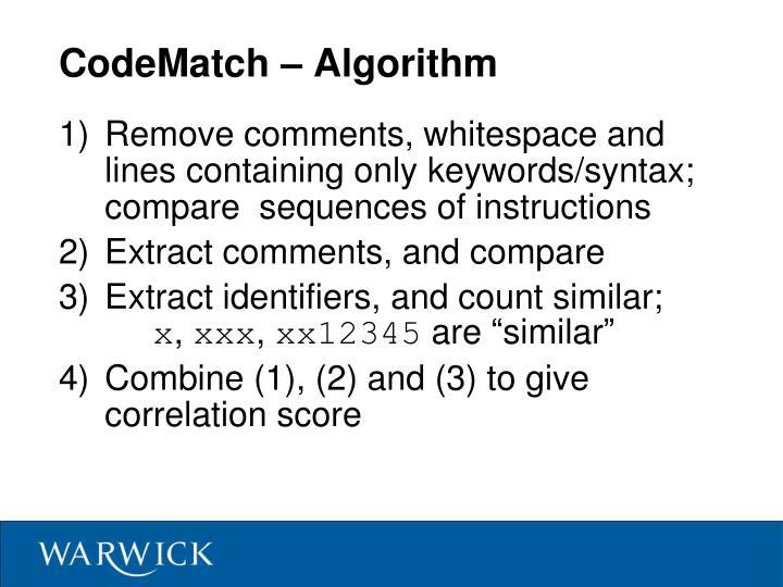CodeMatch – Algorithm