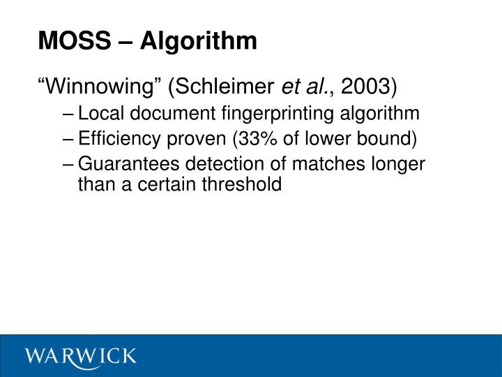MOSS – Algorithm