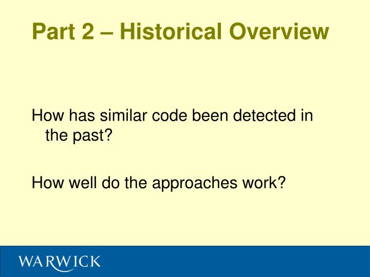 Part 2 – Historical Overview