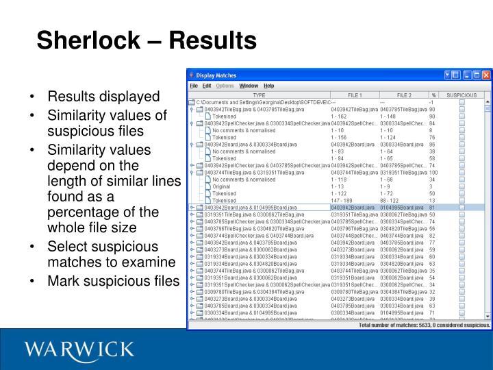 Sherlock – Results