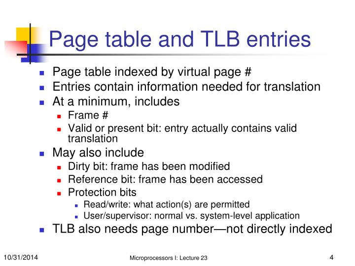 Page table and TLB entries