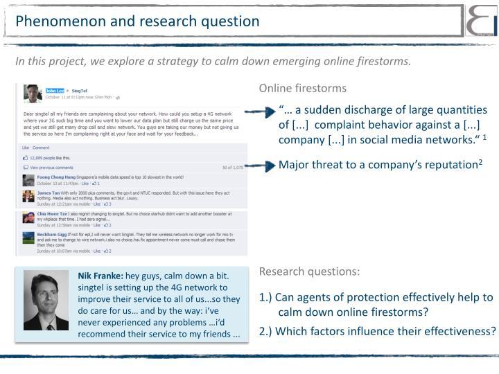 Phenomenon and research question