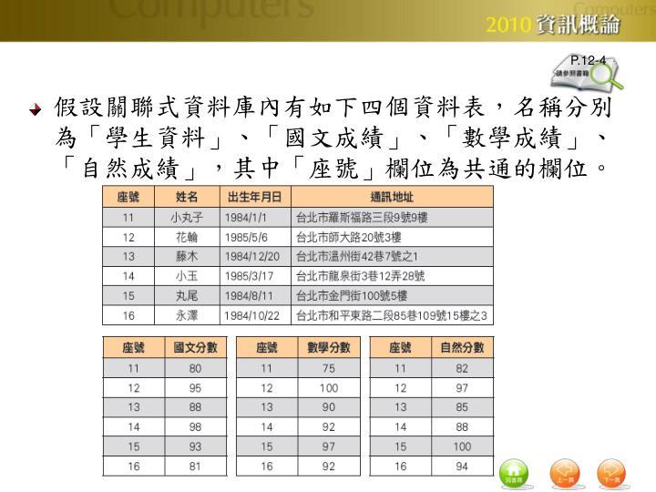 假設關聯式資料庫內有如下四個資料表,名稱分別為「學生資料」、「國文成績」、「數學成績」、「自然成績」,其中「座號」欄位為共通的欄位。