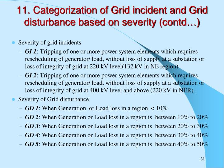 11. Categorization of Grid incident and Grid disturbance based on severity (contd