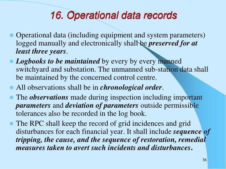 16. Operational data records