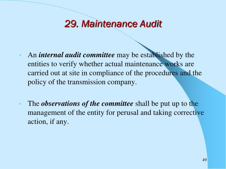 29. Maintenance Audit