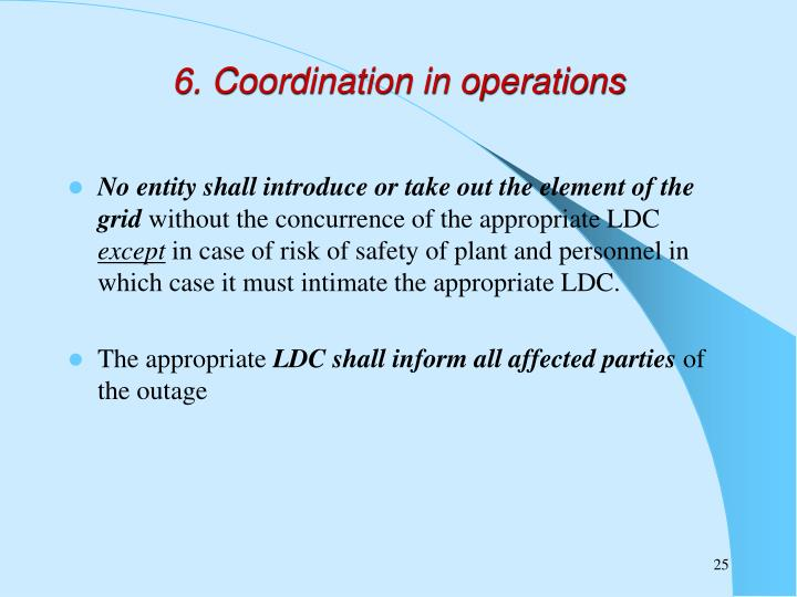 6. Coordination in operations