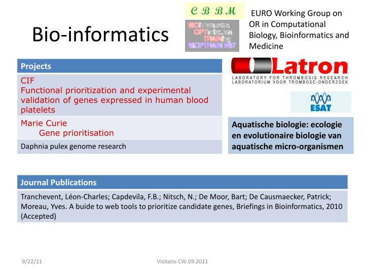 EURO Working Group on OR in Computational Biology, Bioinformatics and Medicine