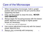 care of the microscope