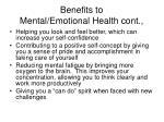 benefits to mental emotional health cont