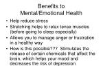 benefits to mental emotional health