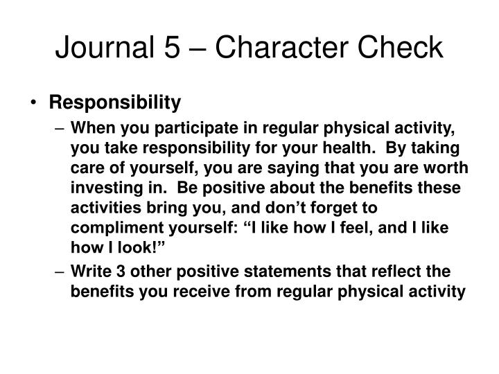 Journal 5 – Character Check