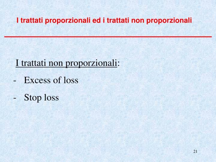 I trattati proporzionali ed i trattati non proporzionali