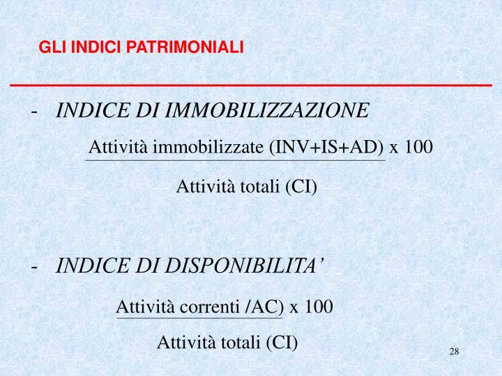 GLI INDICI PATRIMONIALI