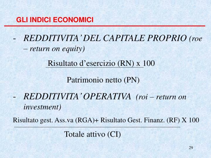 GLI INDICI ECONOMICI