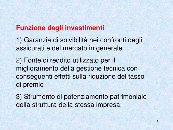 Funzione degli investimenti