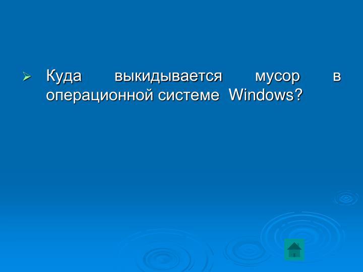 Куда выкидывается мусор в операционной системе