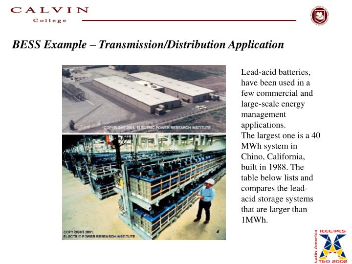 BESS Example – Transmission/Distribution Application