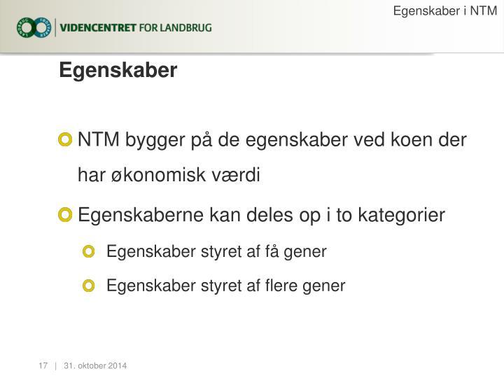 Egenskaber i NTM