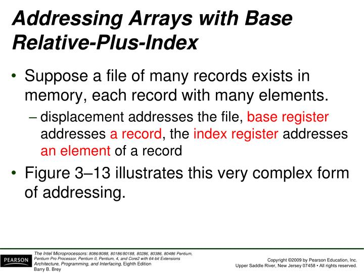 Addressing Arrays with Base Relative-Plus-Index