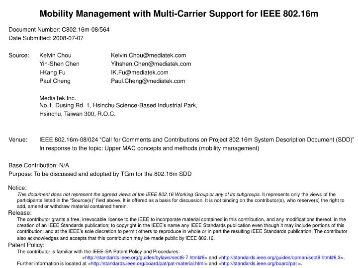 Mobility Management with Multi-Carrier Support for IEEE 802.16m
