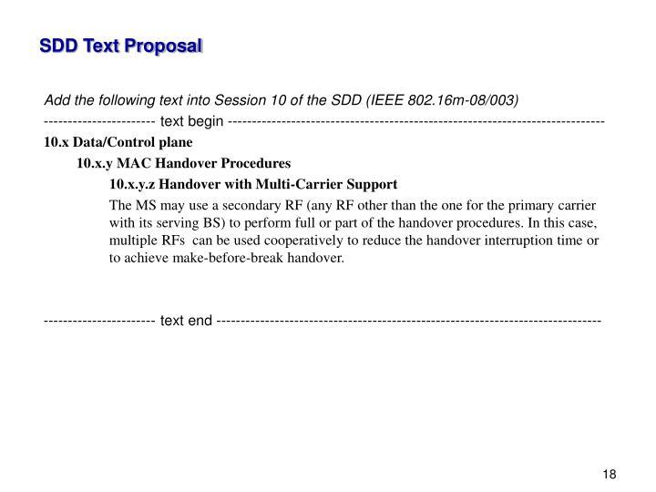 SDD Text Proposal