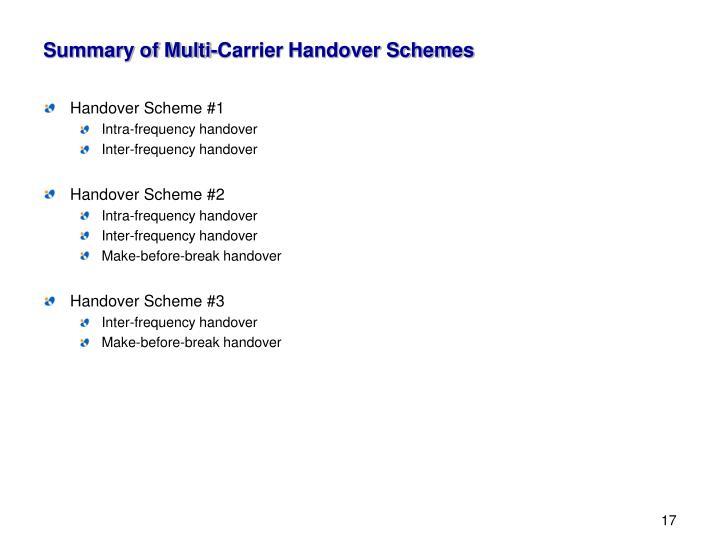 Summary of Multi-Carrier Handover Schemes