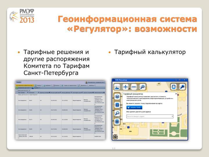 Геоинформационная система «Регулятор»: возможности