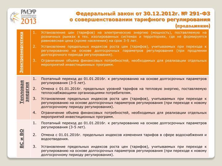 Федеральный закон от 30.12.2012г. № 291-ФЗ
